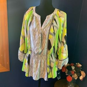 NWT Alfani neon smocked blouse 14P